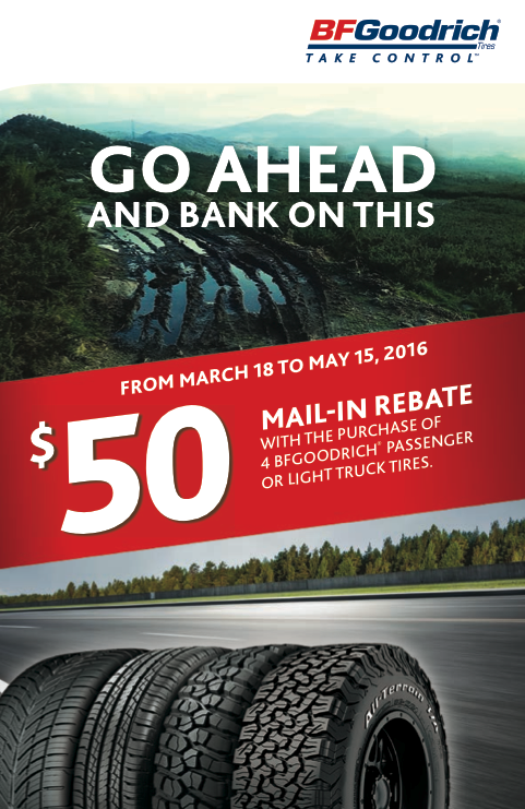 BFGoodrich mail in rebate spring 2016